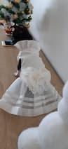 robe blanche avec perles pour petit chien