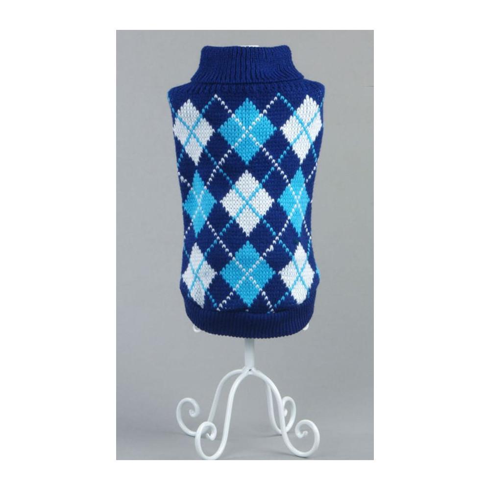 Pull tricot col roulé à carreaux pour chien
