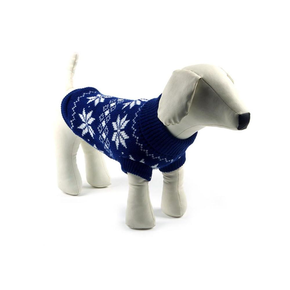 Pull bleu à col roulé avec flocons pour chien
