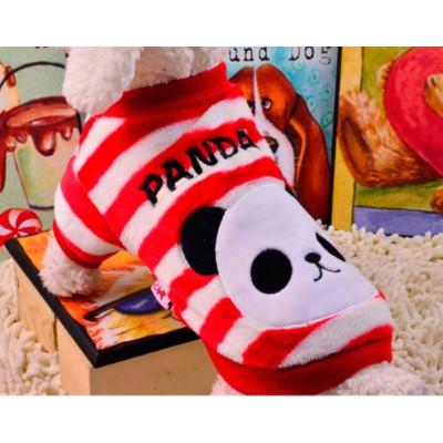 Pull panda polaire rouge pour chien