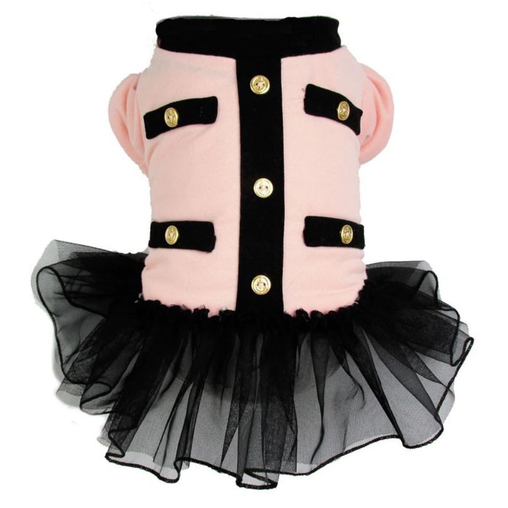 Manteau uniforme rose pour chienne avec jupon tutu noir