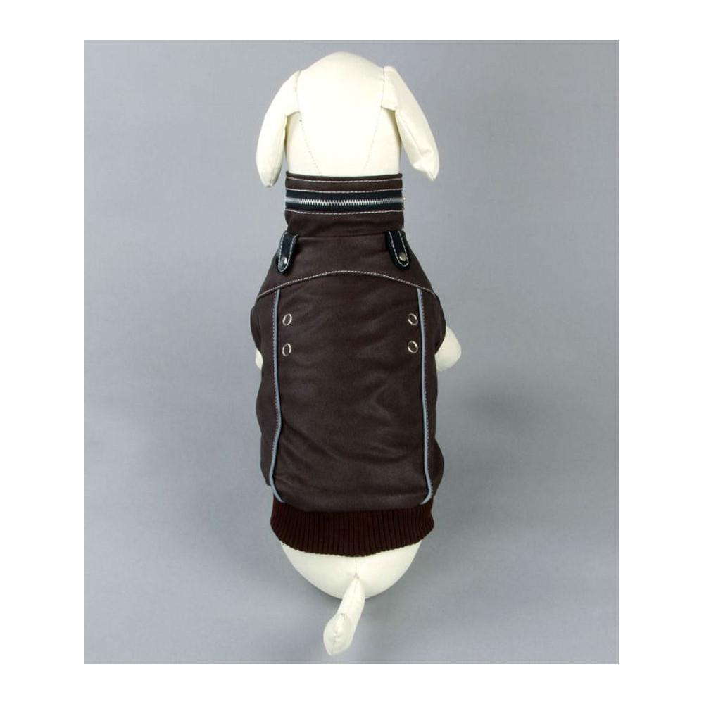 Manteau marron avec col ZIP pour chien