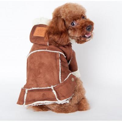 Doudoune marron aspect suédé pour chien
