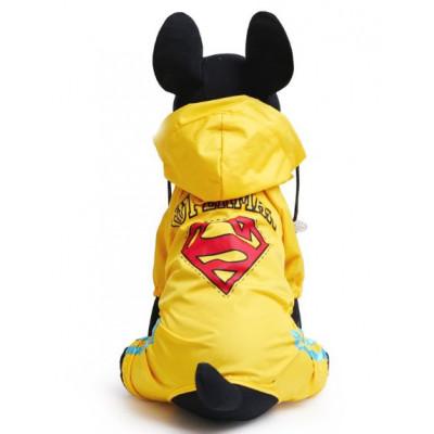 Imperméable jaune avec impression superman pour chien