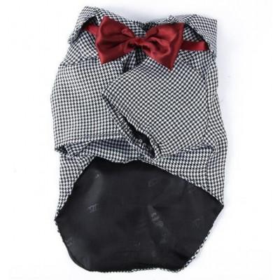 Veste de costume grise à carreaux pour chien