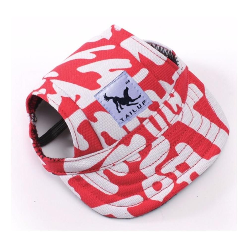 Casquette rouge avec lettres blanches pour chien