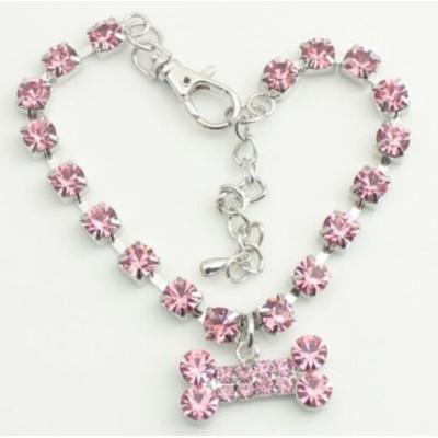 Bijou collier strass rose pour chienne