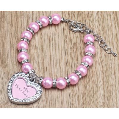 Bijou collier de perles et cadre photo pour chienne