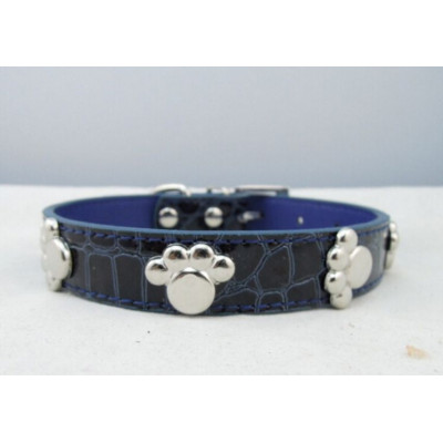 Collier pour chien décoré de pattes en métal