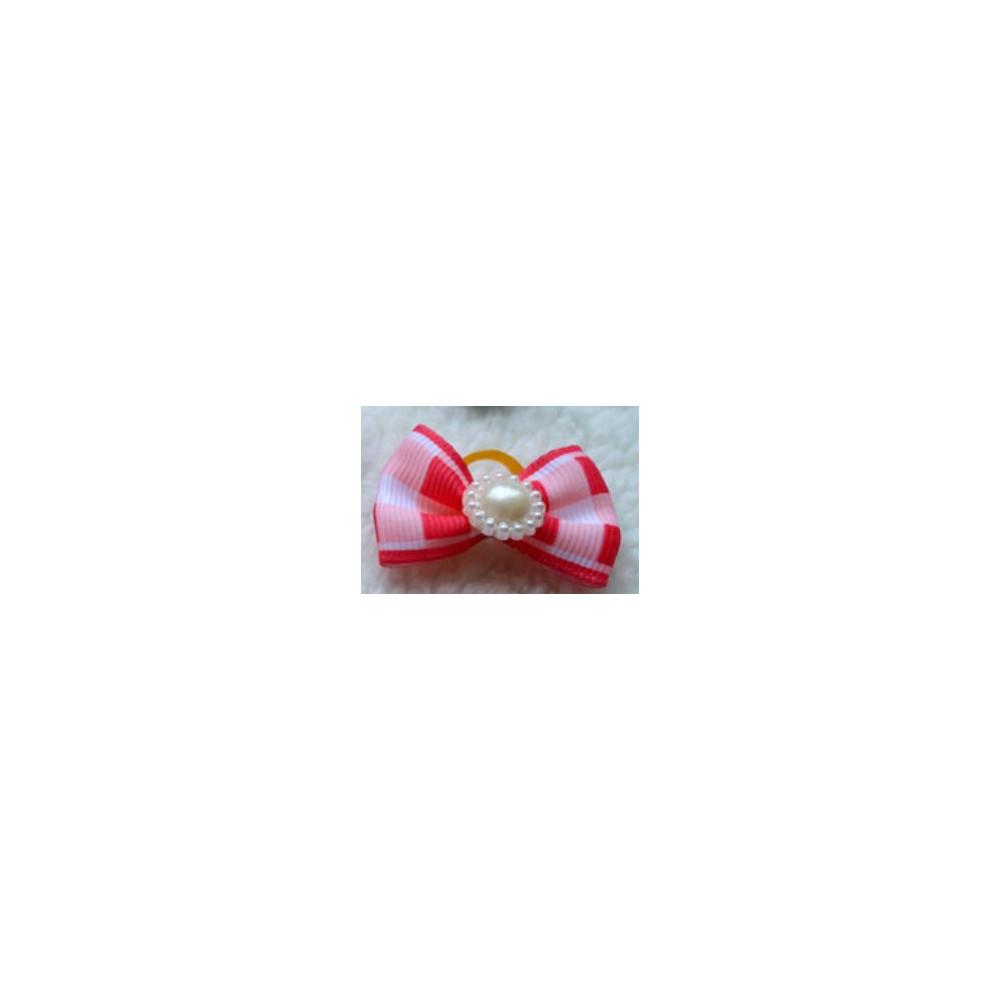 Noeud élastique avec perle et motifs carreaux pour chienne