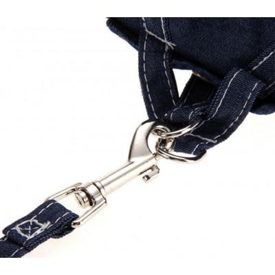 Harnais avec laisse en jean pour chien