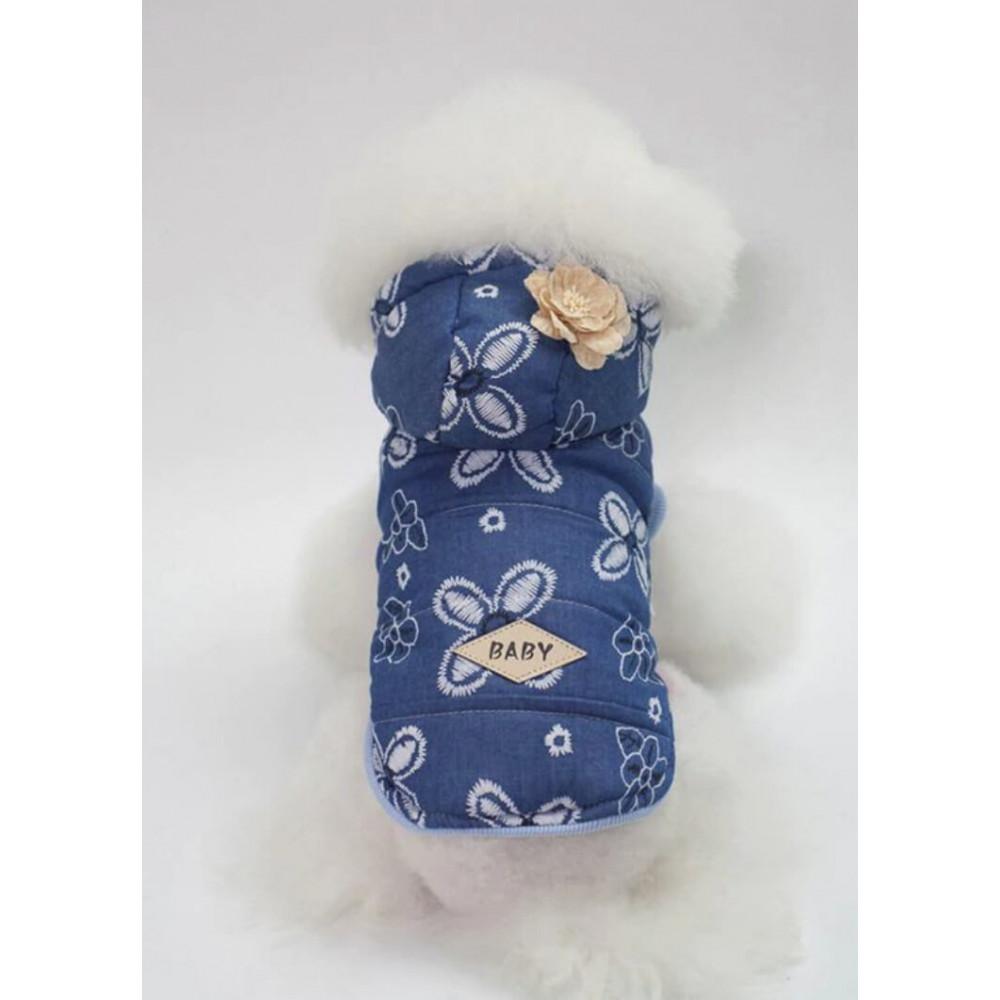 Doudoune motif fleurs pour petit chien